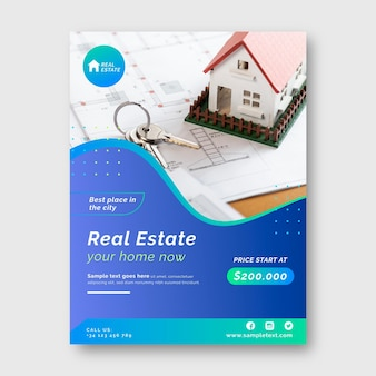 Gradient real estate poster with photo ready to print