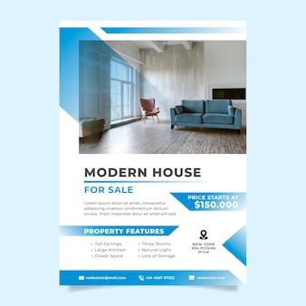 Poster immobiliare sfumato con foto pronta per la stampa
