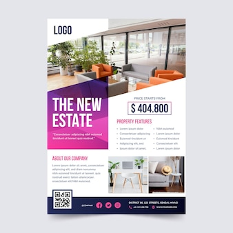 Gradient real estate poster with photo