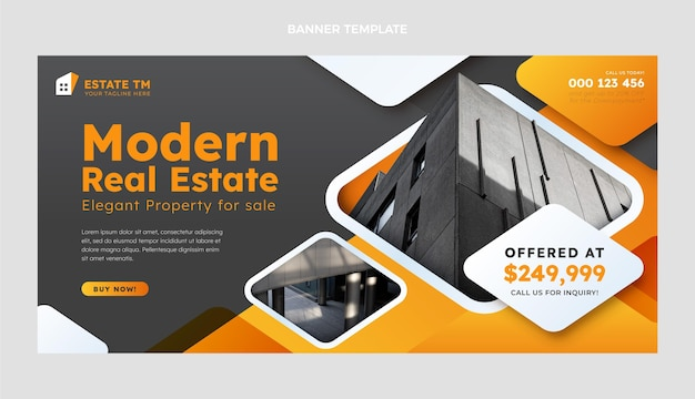 Gradient real estate sale banner template