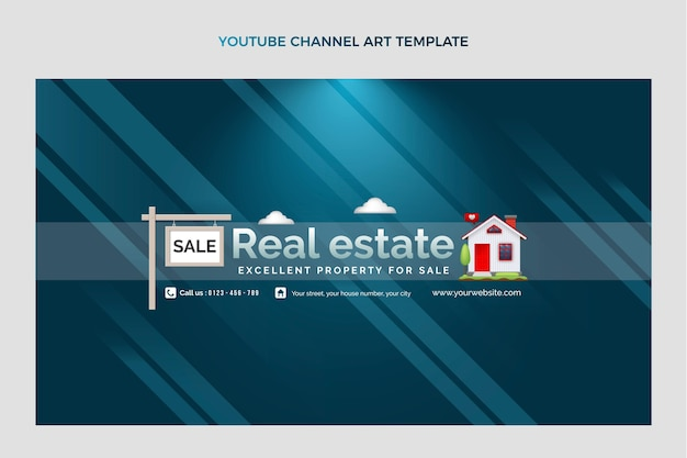 Gradient real estate youtube channel art