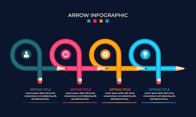 그라데이션 현실적인 다채로운 화살표 인포 그래픽 템플릿
