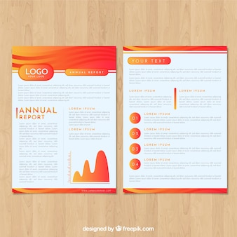 Gradient red annual report cover template
