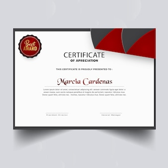 グラデーションの赤い証明書テンプレート