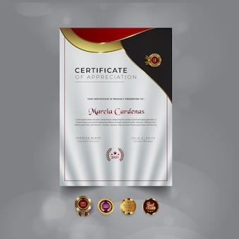 그라데이션 빨간색 현대 인증서 템플릿 디자인