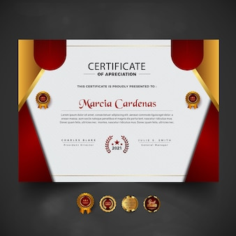 Gradient red modern certificate template