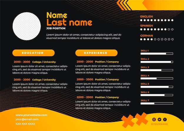 Gradient resume template with photo space