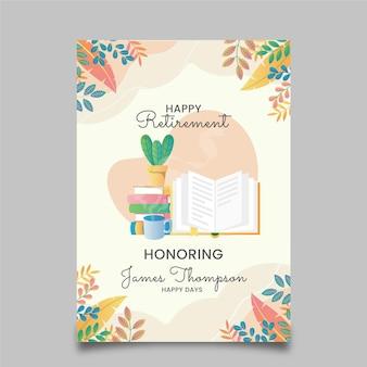 Шаблон поздравительной открытки градиентный пенсионный иллюстрированный