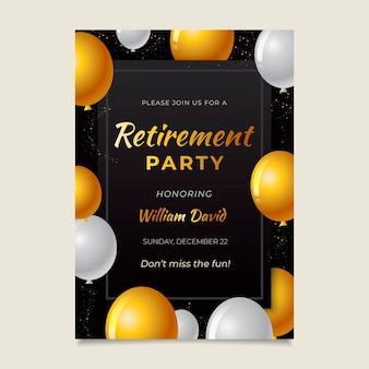 黄金の要素を持つグラデーション退職グリーティングカード