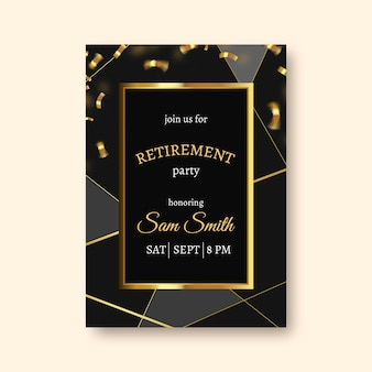 Gradient retirement greeting card with golden elements