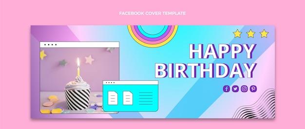 Gradient retro vaporwave birthday facebook cover