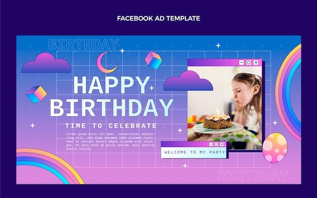 Gradiente retrò vaporwave compleanno facebook