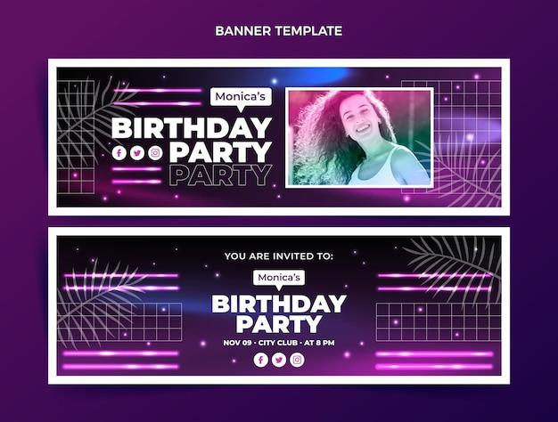 Gradient retro vaporwave birthday horizontal banners set