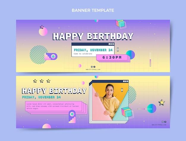 Gradient retro vaporwave birthday horizontal banners