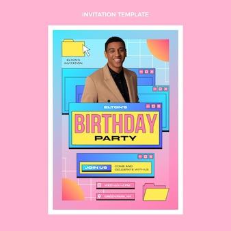 Gradient retro vaporwave birthday invitation template