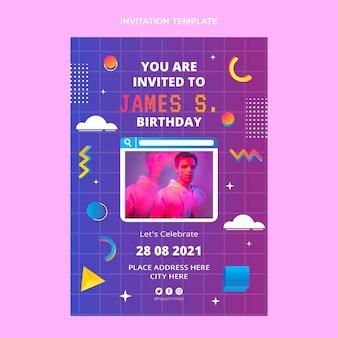 グラデーションレトロヴェイパーウェイヴ誕生日の招待状