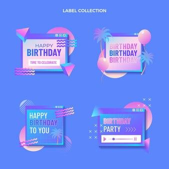 Gradient retro vaporwave birthday label