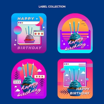 Gradient retro vaporwave birthday labels