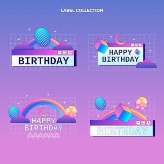 Etichette di compleanno sfumate retrò vaporwave