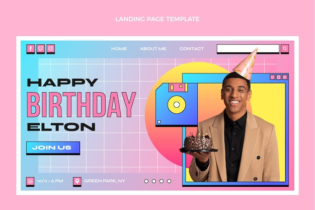 Шаблон целевой страницы на день рождения с градиентом в стиле ретро