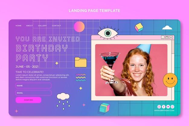 Pagina di destinazione del compleanno di gradiente retrò vaporwave