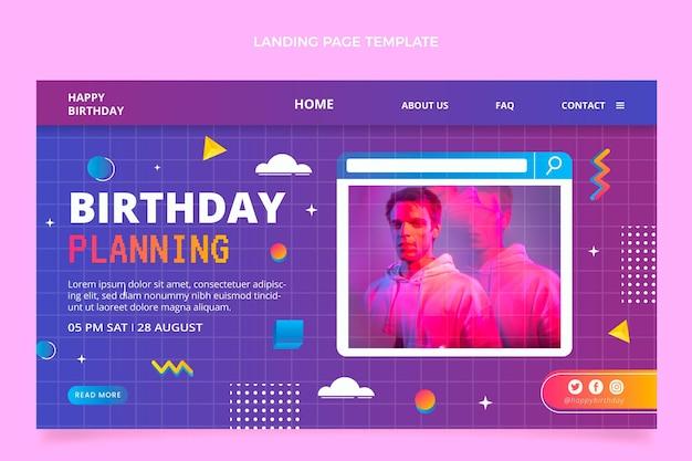 Целевая страница дня рождения градиентной ретро паровой волны