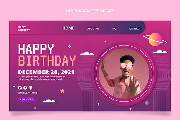 Gradient retro vaporwave birthday landing page