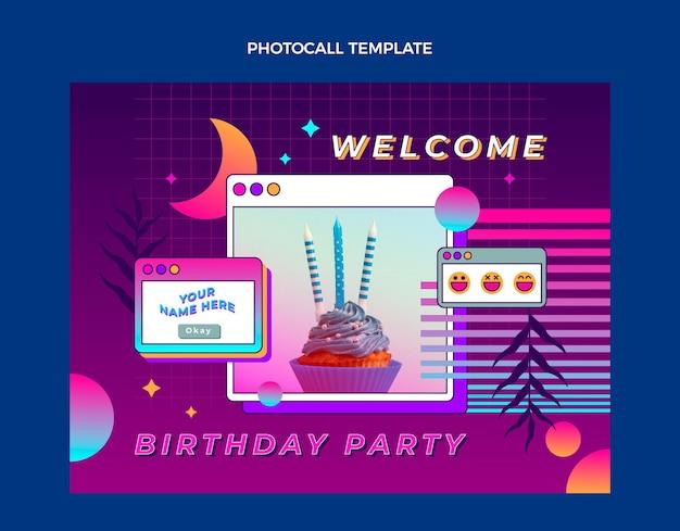 Photocall di compleanno sfumato retrò vaporwave