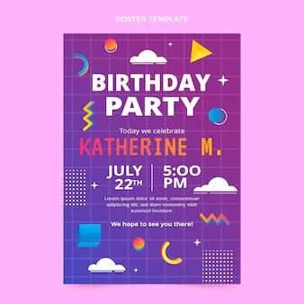 그라데이션 복고풍 기포 생일 포스터