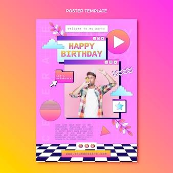 Gradient retro vaporwave birthday poster