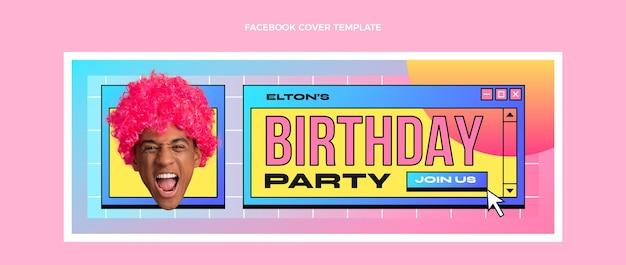 Modello di copertina per social media di compleanno retrò vaporwave sfumato