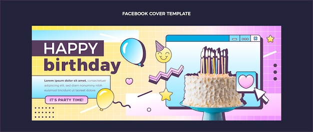 Gradient retro vaporwave birthday social media cover