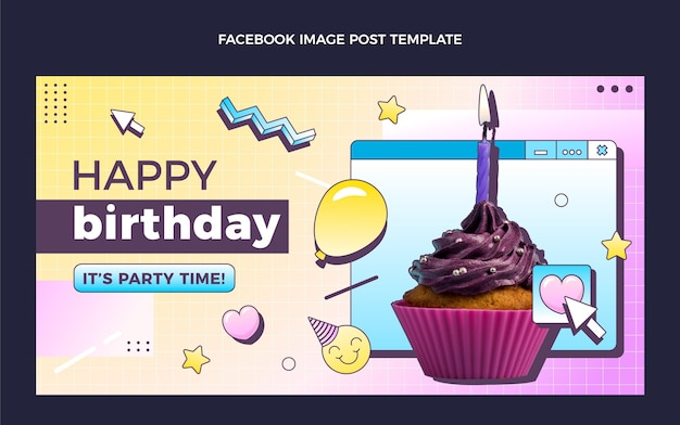 그라디언트 복고풍 증기 파 생일 소셜 미디어 게시물