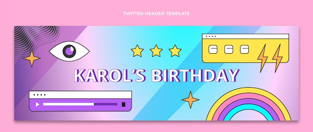 Gradient retro vaporwave birthday twitter header
