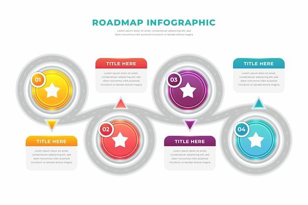 Шаблон инфографики градиентной дорожной карты Premium векторы