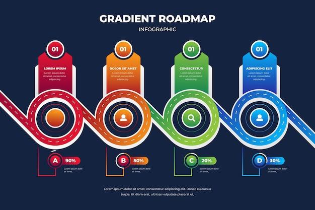 Шаблон инфографики градиентной дорожной карты