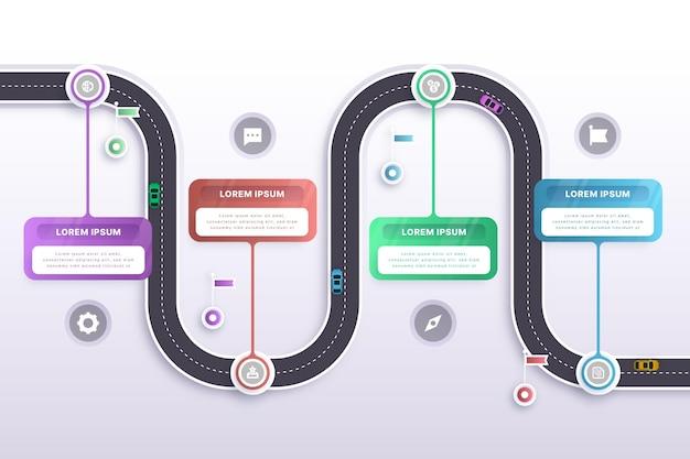 グラデーションロードマップインフォグラフィックテンプレート