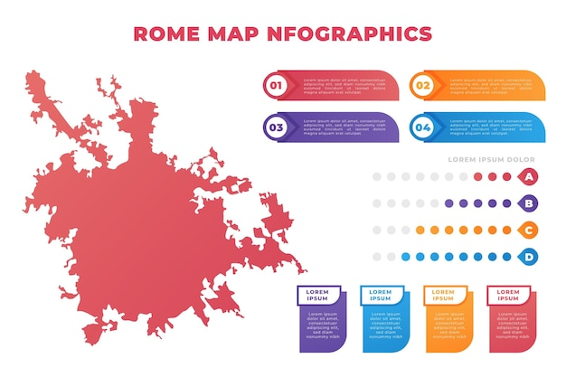 Gradient rome map infographics