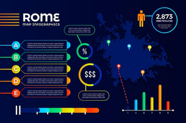 Градиентная инфографика карты рима