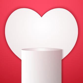 グラデーションの丸い表彰台または台座、最小限の製品のハート形の背景、表示用のテンプレートモックアップ、バレンタインデー、幾何学的形状