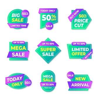 Коллекция значков градиентной распродажи