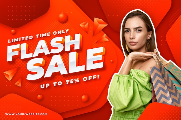 Gradient sale banner template with photo