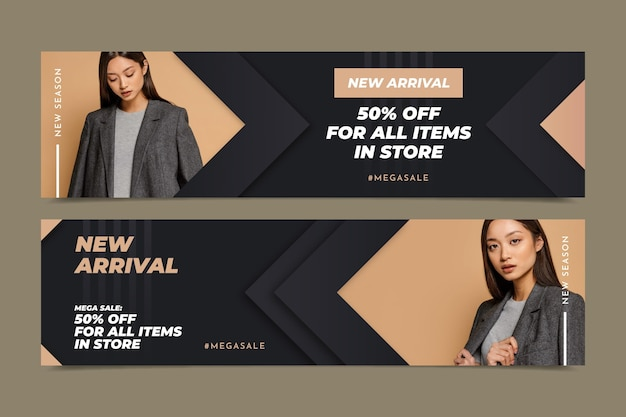 Gradient sale banners set with photo
