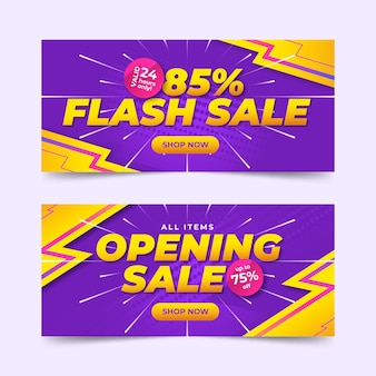 Set di banner orizzontali di vendita sfumata