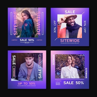 Gradient sale instagram post pack