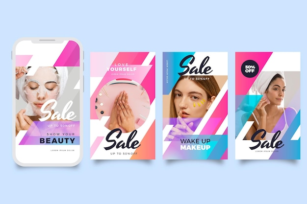Gradient sale instagram story collection with photo