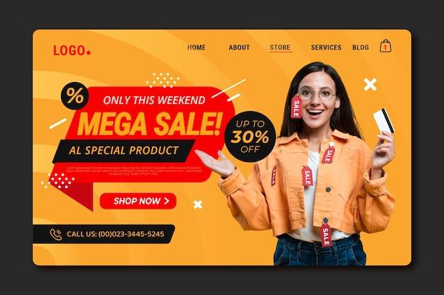 Modello di pagina di destinazione vendita sfumata con foto