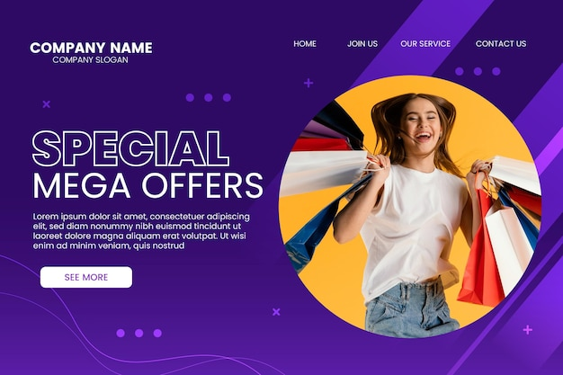 Gradient sale landing page template with photo
