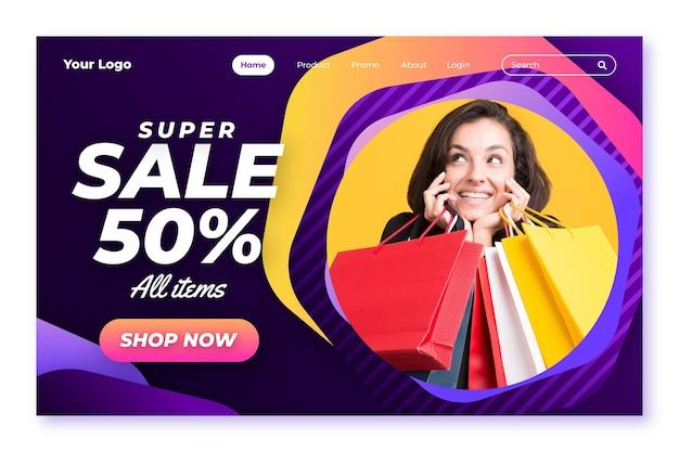 Шаблон целевой страницы градиентной распродажи с фото