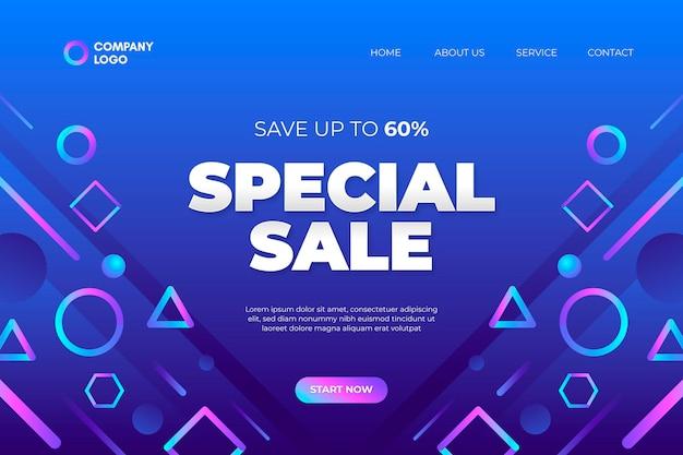 Modello di pagina di destinazione vendita gradiente